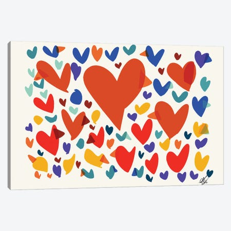 Hearts And Birds Of Love Canvas Print #EMM120} by Emmanuel Signorino Canvas Print