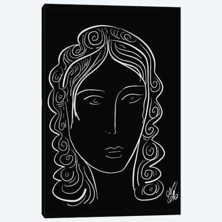 Black And White Minimal Portrait Of A Woman Canvas Print #EMM147} by Emmanuel Signorino Canvas Art