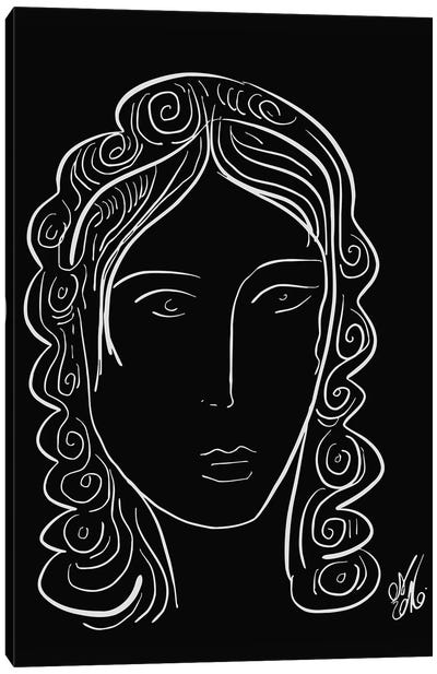 Black And White Minimal Portrait Of A Woman Canvas Art Print