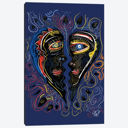 Black Masks Of Love In The Night Canvas Print #EMM14} by Emmanuel Signorino Canvas Art Print