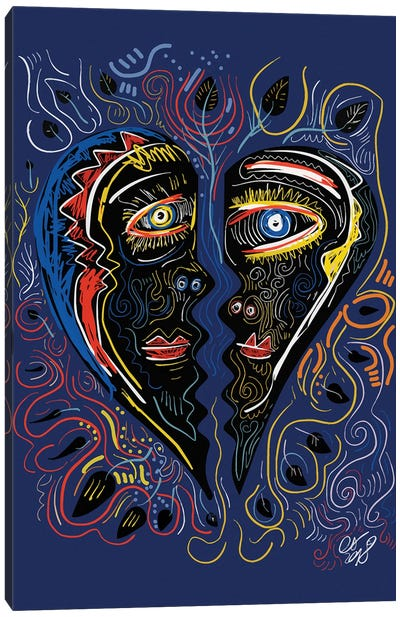 Black Masks Of Love In The Night Canvas Art Print
