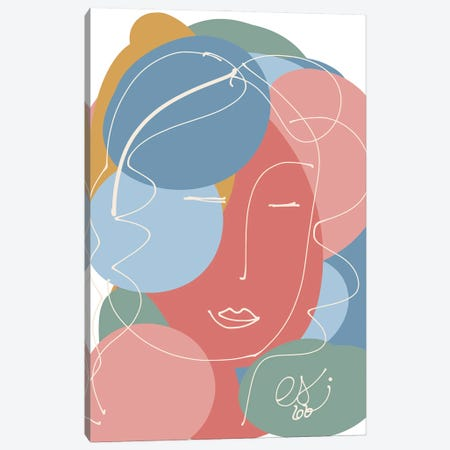 Pastel Abstract Portrait Of A Woman Canvas Print #EMM151} by Emmanuel Signorino Canvas Artwork