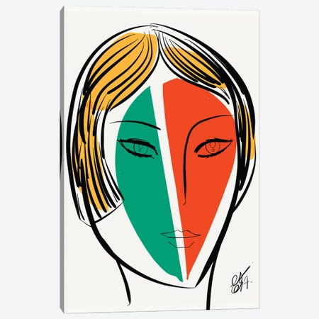 Green Orange Girl Canvas Print #EMM154} by Emmanuel Signorino Canvas Print