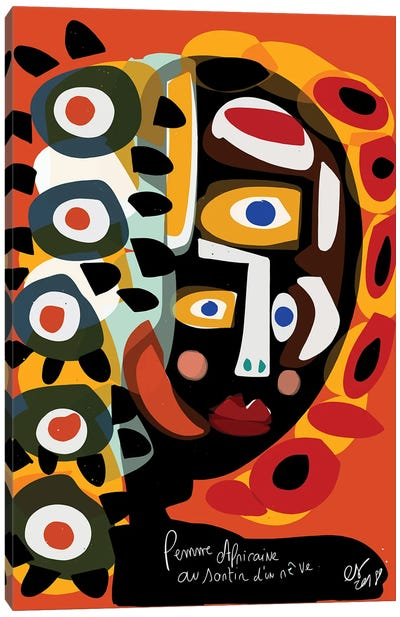 African Woman Is Dreaming Canvas Art Print