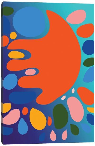 Gradient Blue And Orange Shape Of Love Canvas Art Print