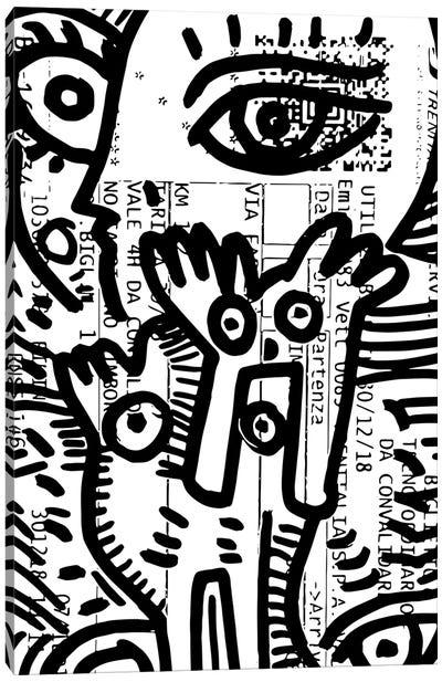 Eyes Graffiti On Train Ticket Canvas Art Print