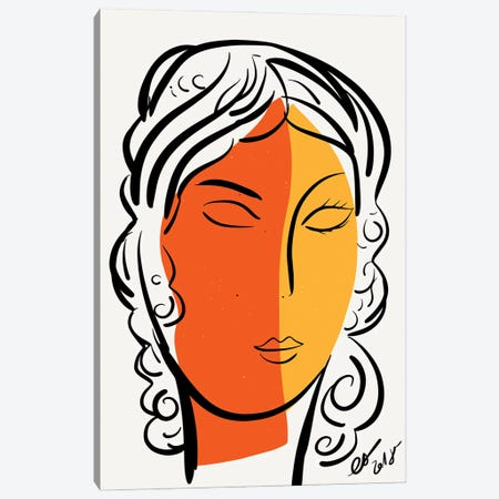 The Orange Yellow Portrait Of A Woman Canvas Print #EMM185} by Emmanuel Signorino Canvas Wall Art