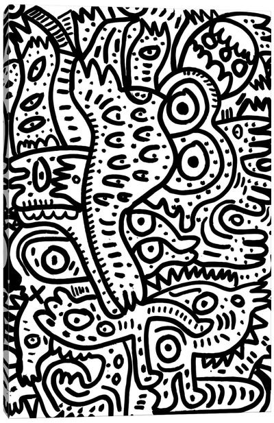 Summer Monsters In Black And White Canvas Art Print