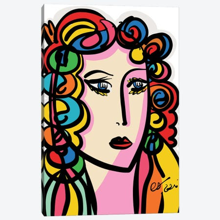 The Rainbow Girl Portrait Canvas Print #EMM193} by Emmanuel Signorino Canvas Art