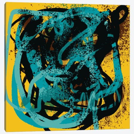 Yellow Soul Abstract Blue Sprayed Paint Canvas Print #EMM194} by Emmanuel Signorino Canvas Art Print