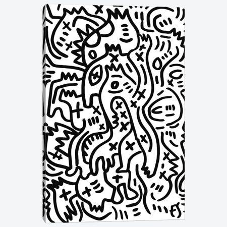 Black And White Graffiti Creatures Canvas Print #EMM1} by Emmanuel Signorino Canvas Art Print