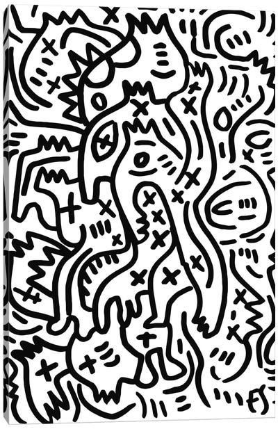 Black And White Graffiti Creatures Canvas Art Print