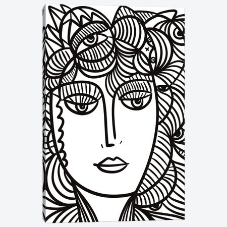La Femme Fleur With Eyes In Her Hair Canvas Print #EMM208} by Emmanuel Signorino Canvas Art