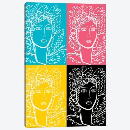 Cmyk Pop Art Portrait Of A Woman Canvas Print #EMM211} by Emmanuel Signorino Art Print
