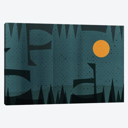 Abstract Geometric And Yellow Moon Landscape Canvas Print #EMM22} by Emmanuel Signorino Canvas Print