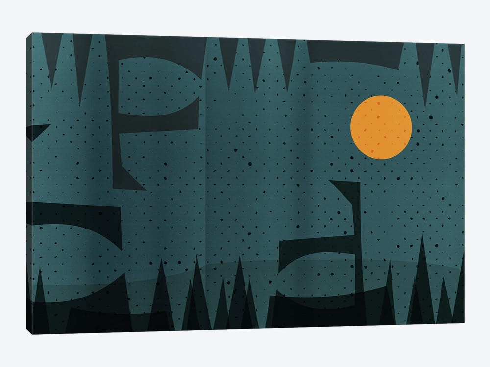 Abstract Geometric And Yellow Moon Landscape by Emmanuel Signorino 1-piece Canvas Artwork