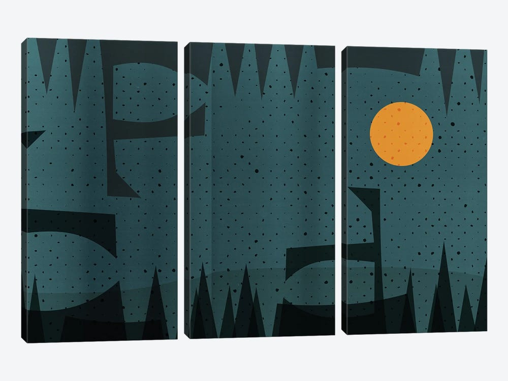 Abstract Geometric And Yellow Moon Landscape by Emmanuel Signorino 3-piece Canvas Art