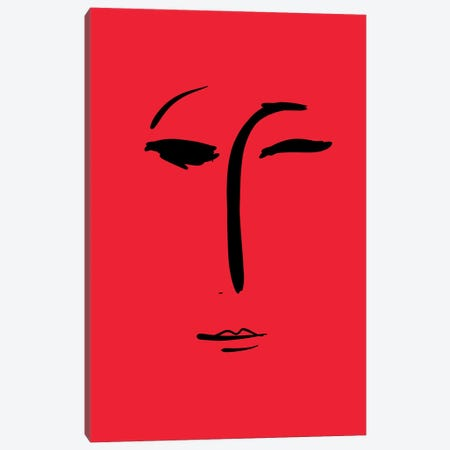 Minimal Portrait Of A Girl In Red Canvas Print #EMM30} by Emmanuel Signorino Canvas Artwork