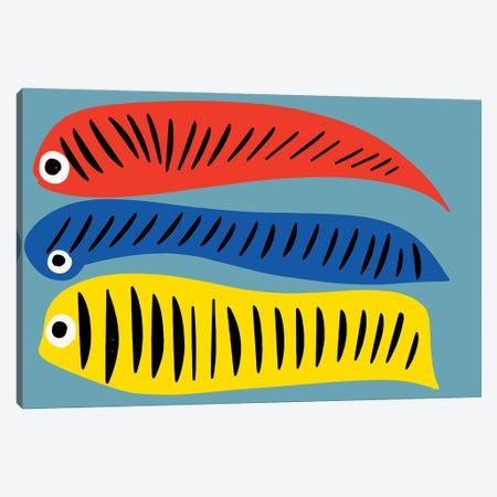 Red Blue Yellow Fishes Canvas Print #EMM48} by Emmanuel Signorino Art Print
