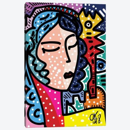 Pop Girl Portrait With Graffiti Creatures Canvas Print #EMM49} by Emmanuel Signorino Art Print