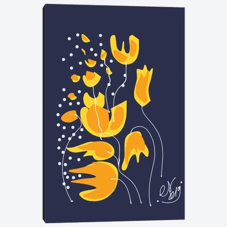 Golden Flowers In The Night Canvas Print #EMM51} by Emmanuel Signorino Canvas Art