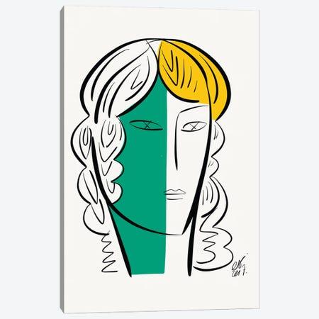 Portrait Of A White Green Girl Canvas Print #EMM65} by Emmanuel Signorino Canvas Artwork