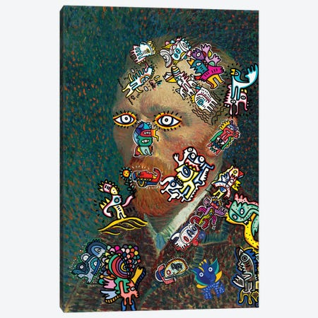 Vincent And The Graffiti Creatures Canvas Print #EMM79} by Emmanuel Signorino Canvas Wall Art