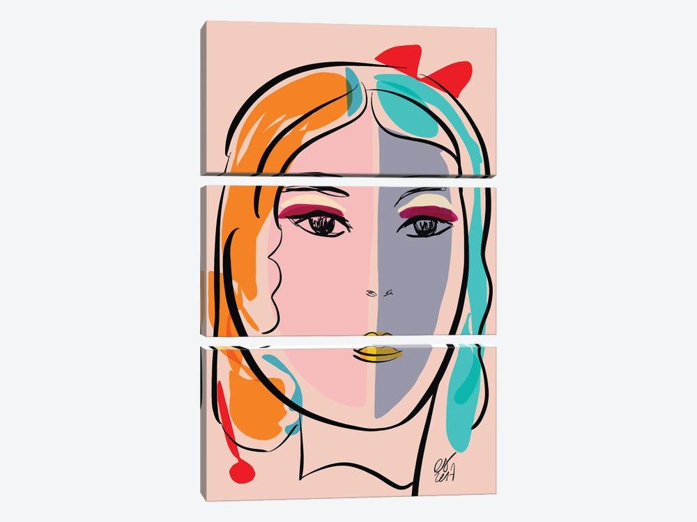 Pastel Portrait Of Stefania by Emmanuel Signorino 3-piece Canvas Print