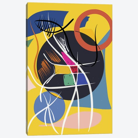 Yellow Abstract Shapes And Symbols Canvas Print #EMM95} by Emmanuel Signorino Canvas Art Print