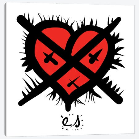 Red Heart My Love Canvas Print #EMM97} by Emmanuel Signorino Canvas Print