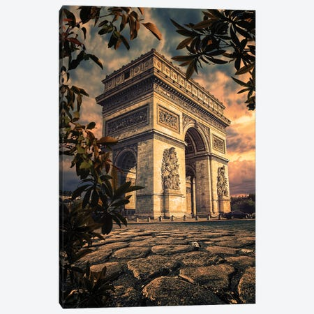 Sunset In Paris Canvas Print #EMN109} by Manjik Pictures Canvas Art Print