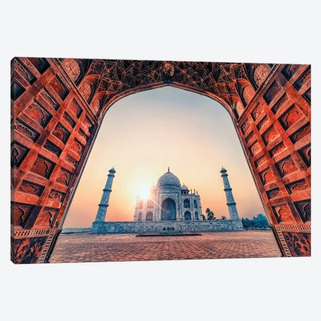Taj Mahal By The Arch Canvas Print #EMN113} by Manjik Pictures Canvas Art