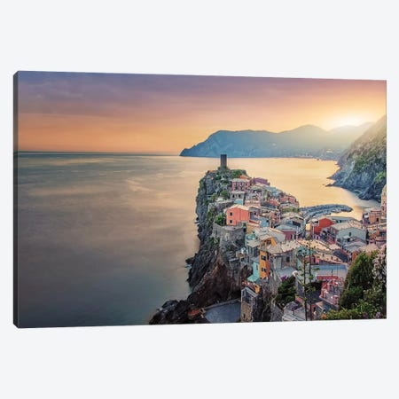 Vernazza In The Evening Canvas Print #EMN127} by Manjik Pictures Canvas Art