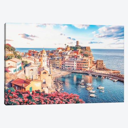 Colorful Vernazza Canvas Print #EMN128} by Manjik Pictures Canvas Art Print