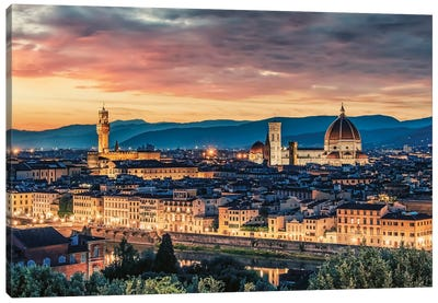 Florence At Sunset Canvas Art Print