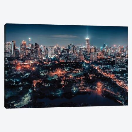 Bangkok City Lights Canvas Print #EMN304} by Manjik Pictures Canvas Art