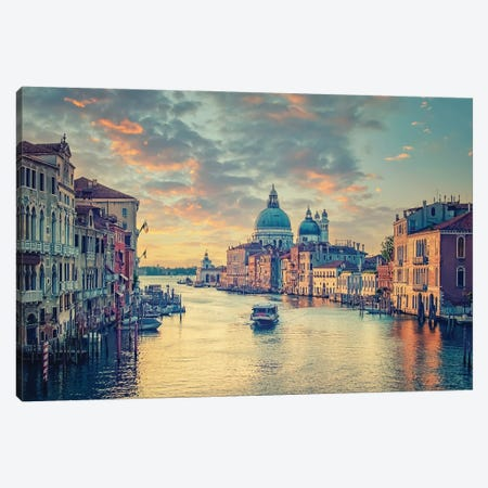 Grand Canal In Venice Canvas Print #EMN47} by Manjik Pictures Art Print