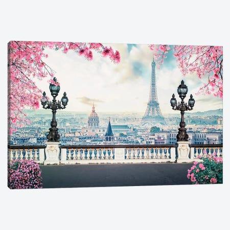 Paris Sakura Canvas Print #EMN547} by Manjik Pictures Canvas Wall Art