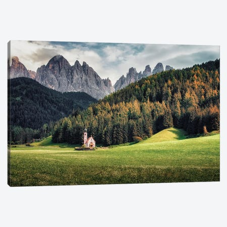 Church In The Dolomites Canvas Print #EMN549} by Manjik Pictures Canvas Print