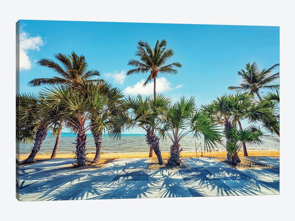 Palm Trees By The Sea by Manjik Pictures 1-piece Canvas Artwork
