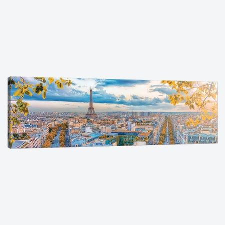 Paris City Panorama Canvas Print #EMN572} by Manjik Pictures Canvas Art