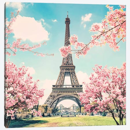Eiffel Tower In Spring Canvas Print #EMN608} by Manjik Pictures Canvas Art