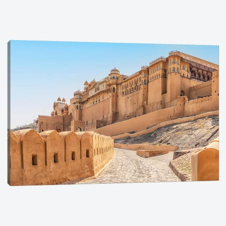Fort In Jaipur Canvas Print #EMN615} by Manjik Pictures Canvas Wall Art