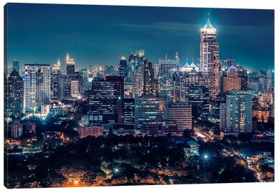Bangkok Downtown By Night Canvas Art Print