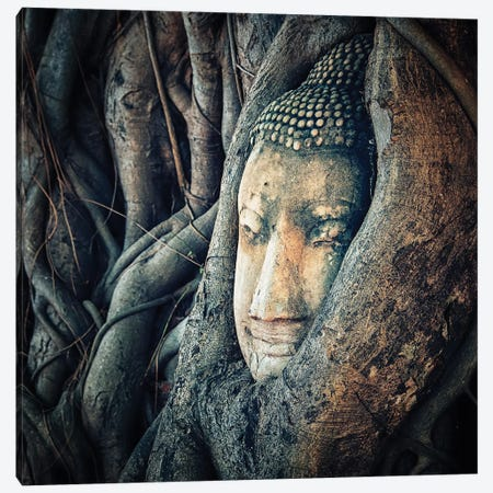 Buddha Face Canvas Print #EMN694} by Manjik Pictures Canvas Art