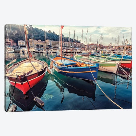 French Riviera Harbor Canvas Print #EMN711} by Manjik Pictures Canvas Artwork