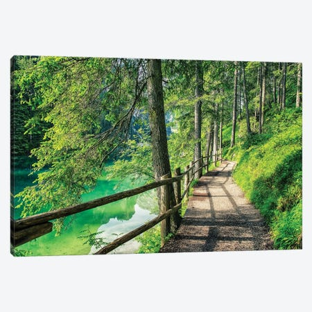 A Promenade By The Lake Canvas Print #EMN719} by Manjik Pictures Canvas Art