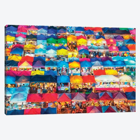 Train Night Market Canvas Print #EMN72} by Manjik Pictures Canvas Art Print