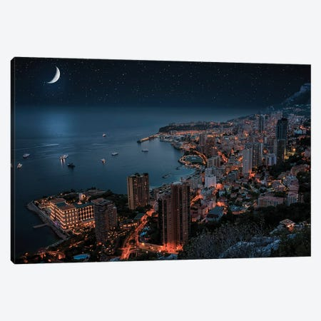 Monaco By Night Canvas Print #EMN76} by Manjik Pictures Canvas Art
