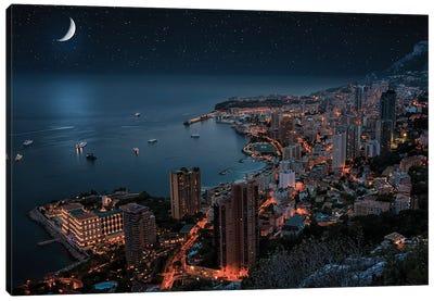 Monaco By Night Canvas Art Print